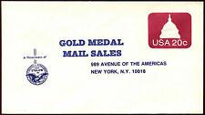 USA gold medal las ventas de correo, 20c #C35922 cubierta de pre-pagada Papelería