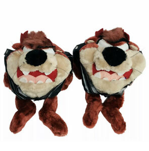 Vintage Tazmanian Devil Plush Black Motorcycle Biker Jacket Taz Looney Tunes 10""