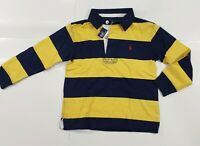 New with tag Boys RALPH LAUREN Navy Blue Yellow Long Sleeve POLO Rugby Shirt 5