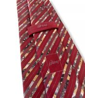 """Brioni Men's 100% Silk Red Tie Floral Striped Pattern Made In Italy 3 1/2"""" Width"""