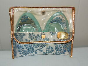 Vintage 1950s 1960s Japan Travel Ballet Slippers with Cosmetic Case Size 4-5.5
