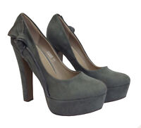 Ladies Womens Platform Chunky Block High Heels Suede Court Shoes Sandals Size