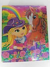 Vintage Lisa Frank 3 Ring Hard Binder Rainbow Chaser Horse Co 00004000 wgirl Girl Shimmery