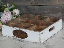 Chic Antique Holzkasten Kiste creme beige 9 Fächer Vintage Shabby Landhaus NEU