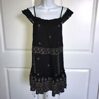 Free People Intimately Black Embroidered Dress XS Slip Raw Edges Off Shoulder