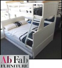 BONDI RANCH SINGLE DOUBLE TIMBER TRIO BUNK BED & STANDARD TRUNDLE IN WHITE