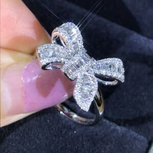 Fashion 925 Silver Bow Knot Bling Zircon Stone Rings for Women Wedding Jewellery