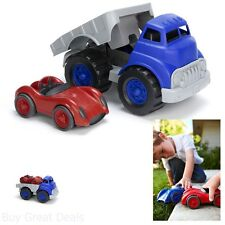 Flat Bed Truck And Race Car Green Child Toys Recycled No BPA PVC No Phthalates