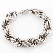 """VTG Sterling Silver - MEXICO TAXCO Rope Twisted 9"""" Bracelet - 94g"""