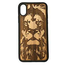 Lion Case made for iPhone X phones Bamboo Wood Cover + TPU Wrapped Edges Leo