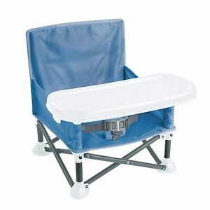 Portable Baby Booster Chair Seat Blue Compact Folding Collapsible Indoor Outdoor