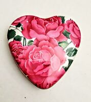 """VTG PINK ROSES FLORAL DESIGN HEART SHAPED METAL TIN STORAGE BOX FROM ENGLAND! 4"""""""