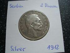 More details for 1912  serbia very rare silver 2 dinara - petar i xf /54/f