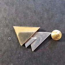 2 Tone Silver Gold Jn102 Triangle Tie Tack Lapel Pin
