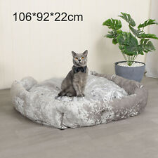 XL Crushed Velvet Dog Bed Soft Washable Fleece Cushion Warm Luxury Pet
