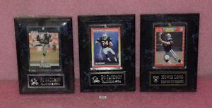 3 Los Angeles Raiders Bo Jackson & Howie Long Football Card Plaque.