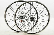 "PAIR 700 x19c (28"") WHEELS SHIMANO DEORE 8/9 SPEED HUBS DOUBLE WALL RIMS BLACK N"