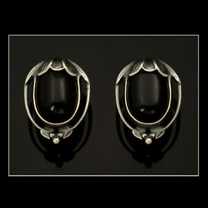Georg Jensen Ear Clips Of The Year 2010 w. Black Agate