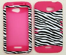 Silicone Hybrid Case For HTC One X Zebra Pink Skin