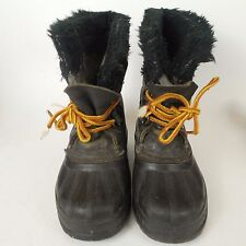 SOREL Toddler Childrens sz 10 Black Leather Snow Winter Boots lined Boy Preowned