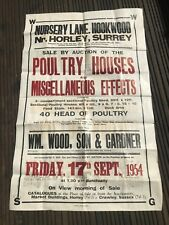 large 1954 auction poster - poultry houses hookwood nr horley surrey
