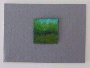 """SUMMER GREEN FIELD LANDSCAPE Miniature Pen InkPainting 1""""x1"""" Julia Garcia NEW"""