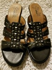 Umberto Raffini Black Leather Heels Sandals Shoes Womens Size Eur 41 Size 10