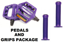 PURPLE Metal BMX Pedals - 9/16 ( Fits 3 Piece Crank ) & Purple Krayton Grips