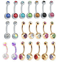 316L Surgical Steel Bar Double Crystal Navel Belly Bar Button Ring Body Piercing