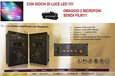 COPPIA 2 CASSE AMPLIFICATE ATTIVE AUDIO DJ MP3 USB/SD BLUETOOTH + RADIO FM