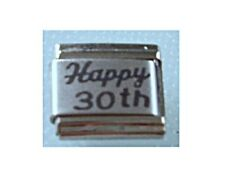 9mm Italian Charms  L54  Happy 30TH 30 Birthday Fits Classic Size Bracelet