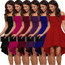 Sexy Off Shoulder Hi Low All The Rage Skater Office Formal Party Evening Dress