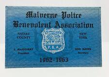 Malvern New York Police PBA Card 1962 / 1963, Nassau County Long Island