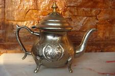 ANTIQUE HANDMADE MAROC NO59 Islamic Silvered Brass Teapot SAEED Banany Dar el