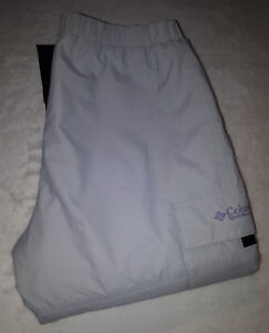 Columbia Insulated Waterproof Outdoor Trousers Ladies Size XL Grey/Lilac Ripstop