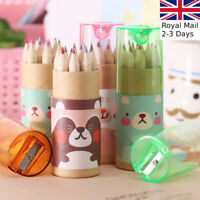SETS OF 12 MINI COLOURING PENCILS Small/Short/School Child/Kids Fun Art Party