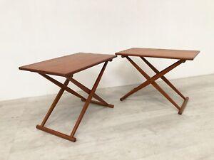 DANISH 60S PONTOPPIDAN FOR KNUD ANDERSEN MODEL KA128 PAIR OF FOLDING TEAK TABLES