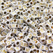 NEW 100/500/1000pcs Mixed Alphabet/Letter Acrylic Cube Beads 6x6mm 7X7mm Choose