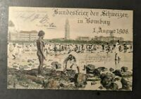 1906 Cocoanut Festival Bombay India Sea Post RPPC Cover Gottmadingen Germany