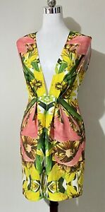Finders Keepers XS Next In Line Dress Mini Multicolour Floral Cut-Out Plunge NEW