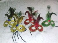 Two Mardi Gras Venetian Mask Masquerade Peacock Feather Sequin Glitter Costume