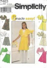 Simplicity Girls Dress & Jacket 7 Variations #7463 Size 12-16 Easter Spring New