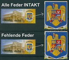 Rumänien 2014  Mi.6828 I+II ABART ** 150 Jahre Senat,SENATE OF ROMANIA. ERROR