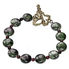 Bracelet pierre Rubis-Zoisite grenat fermoir papillon bronze bijou