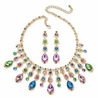 Multicolor Crystal Gold Tone Necklace and Earrings Jewelry Set