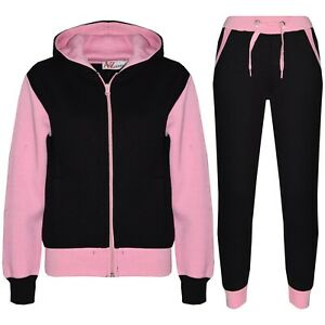 Kids Boys Girls Tracksuit Fleece Hooded Hoodie Bottom Jogging Suit Jogger 2-13Yr
