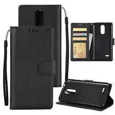 For LG K10/K8/K4 2017 Flip Leather Case w/ Card Pocket Slot Stand Cover + Strap