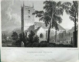 1830 Antique Print; St. Collen's church, Llangollen, Wales after Gastineau