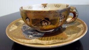Exquisite marked Satsuma JAPANESE MEIJI SATSUMA TEA CUP AND SAUCER