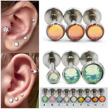 2x Opal Steel Ear Cartilage Tragus Helix Upper Earring Lip Labret Piercing 16g